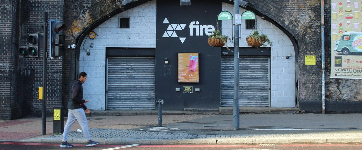 Exterior of Fire London nightclub wideshot