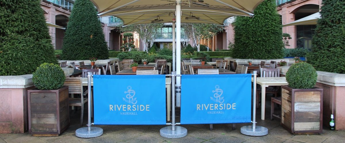 Riverside pub outside seating area