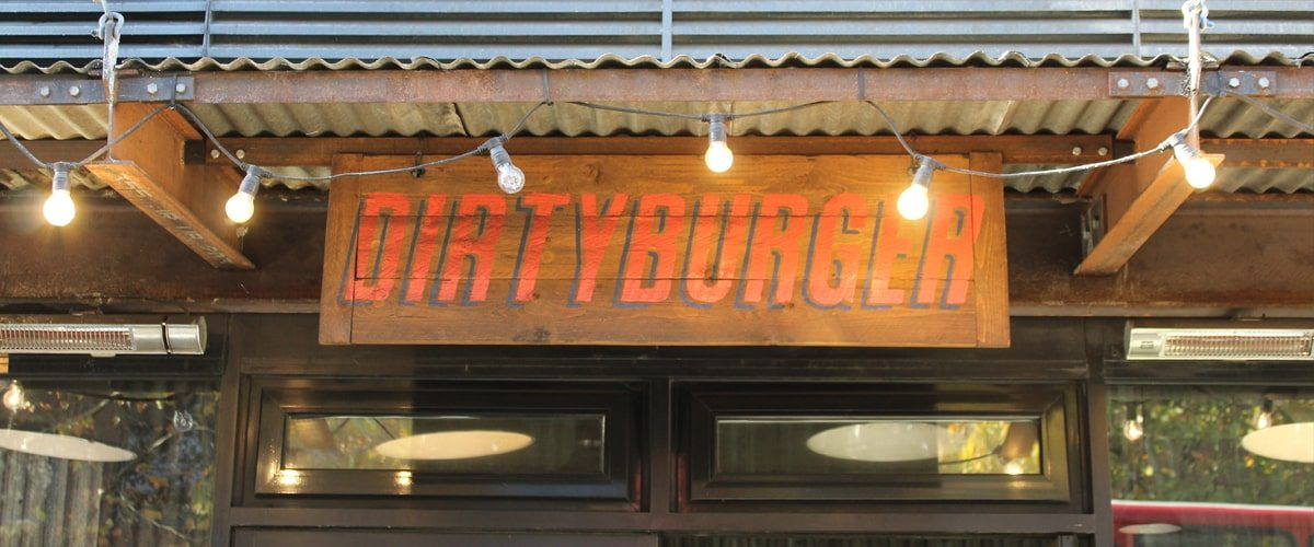 Dirty Burger restaurant signage and lights
