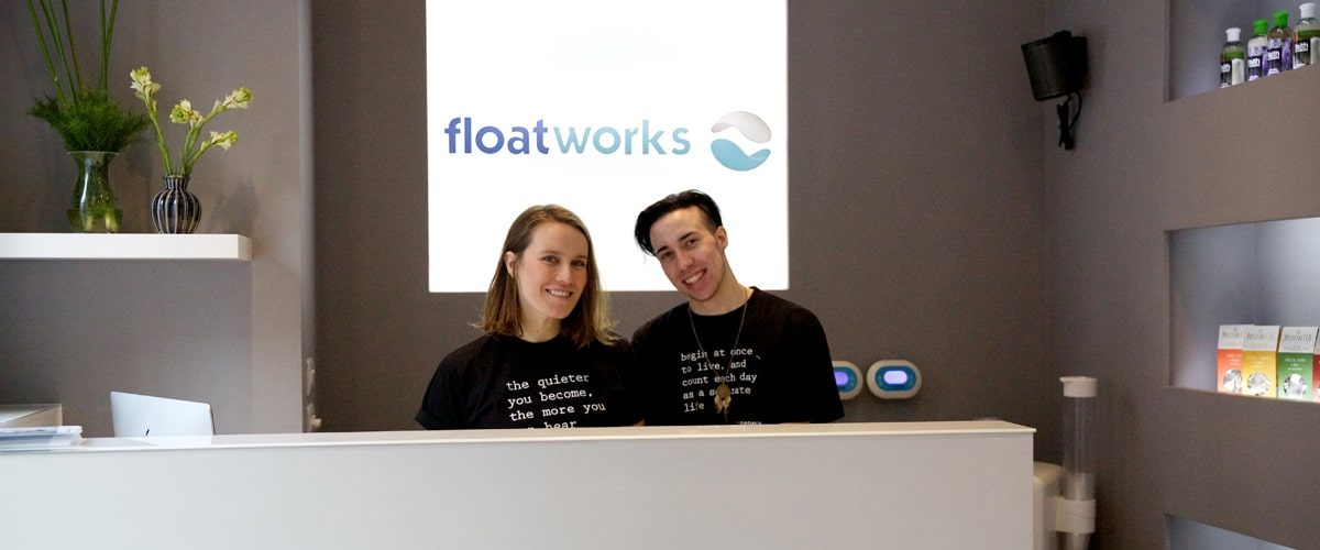 Floatworks employees at the reception desk