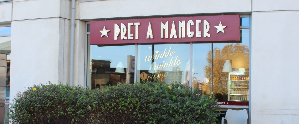 Pret a manger Vauxhall cross window and signage