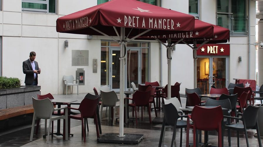 Pret a manger Vauxhall cross outside seating