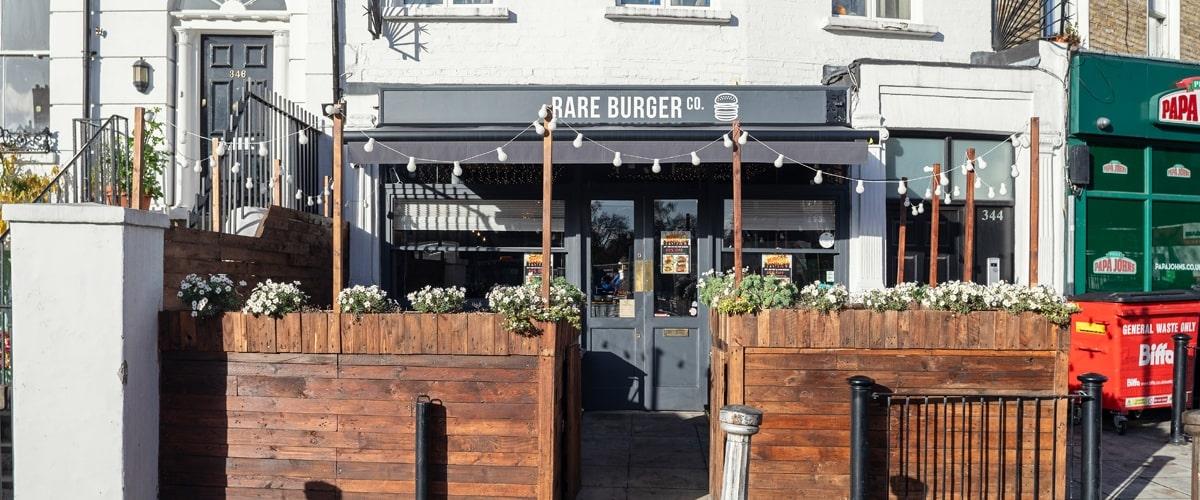 Exterior of Rare Burger