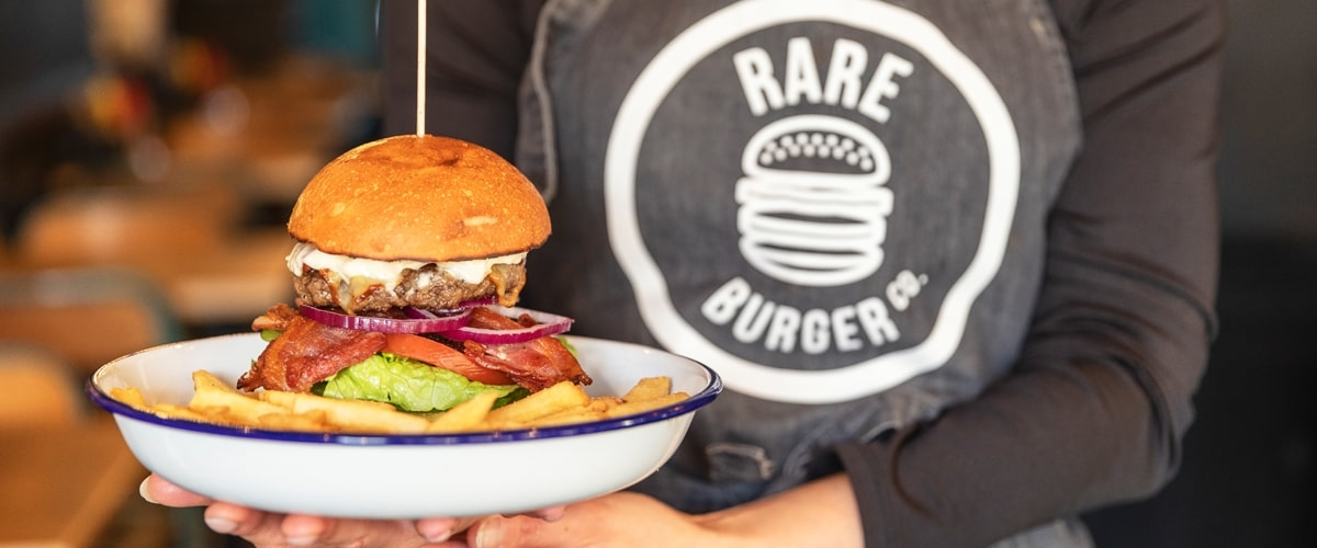 Image of a burger and smoothie at Rare Burger