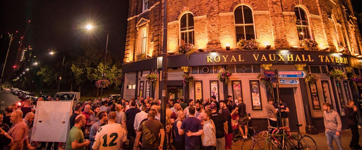 Vauxhall Tavern wide shot evening crowd