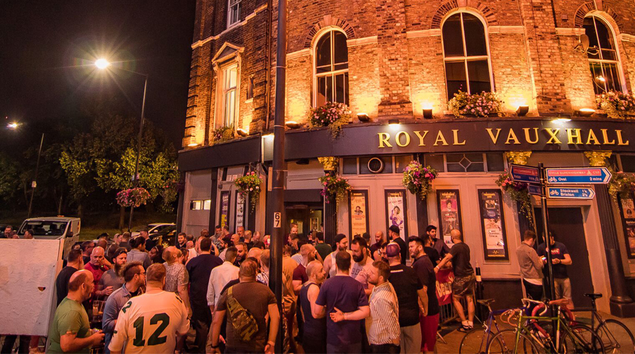 Vauxhall Tavern wide shot evening crowd