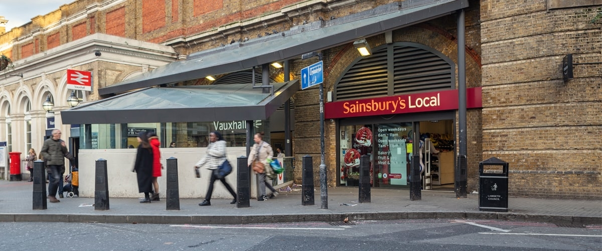 Front of Sainsbury's local at Vauxhall station