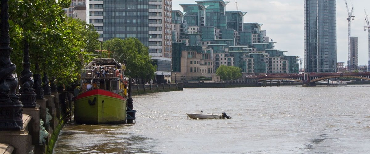 Tamesis Dock bar on a boat on the Thames outside seating with view down Albert Embankment