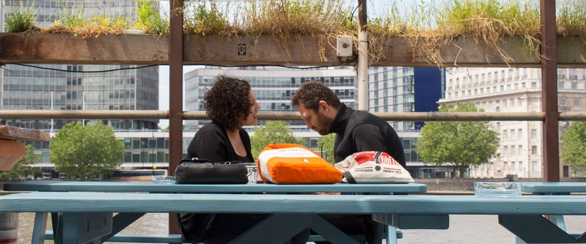 Tamesis Dock bar on a boat on the Thames outside seating with view of The Embankment