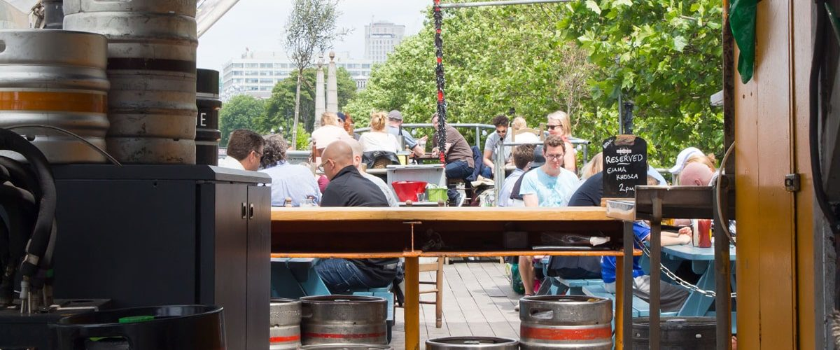 Tamesis Dock bar on a boat on the Thames outside seating in the Summer