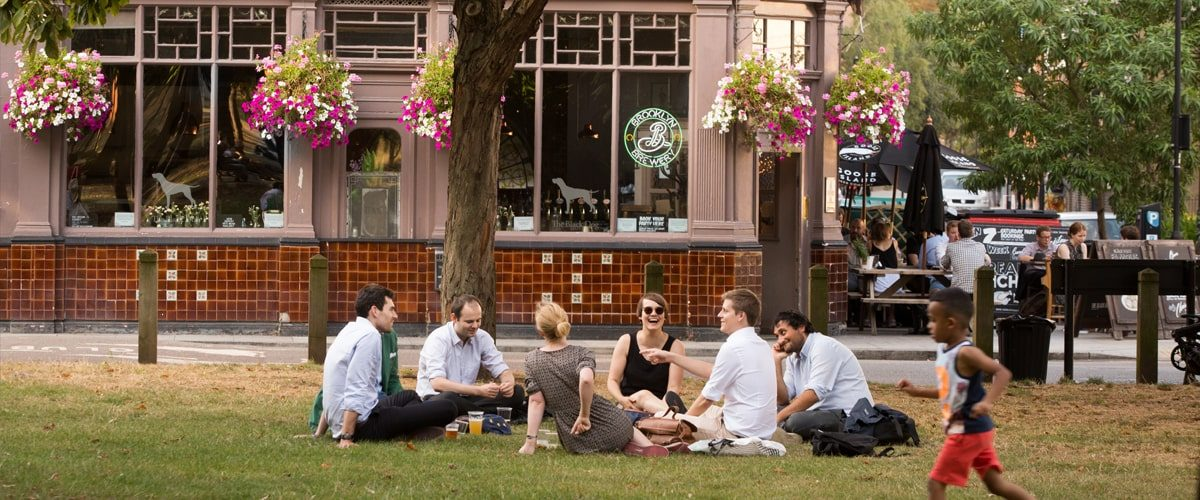 The Black Dog pub outside seating and drinking in Vauxhall pleasure gardens