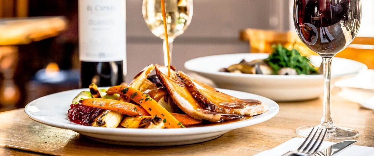 Roast dinner with wine at the Black Dog pub