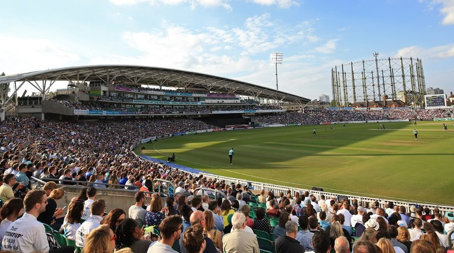 The crowd at the kia oval watching Surrey play Twenty20 cricket