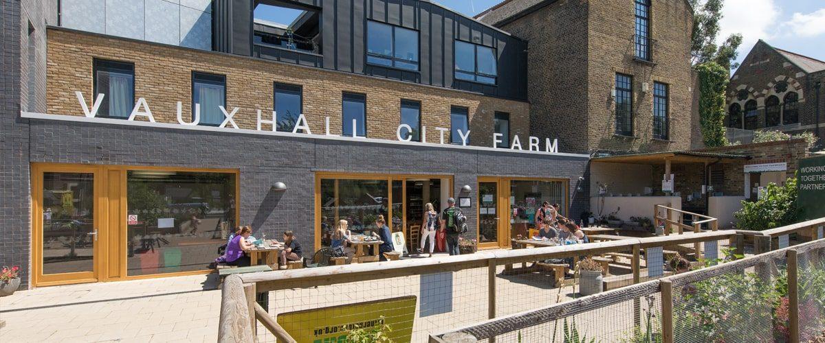 Vauxhall City Farm cafe outside eating area