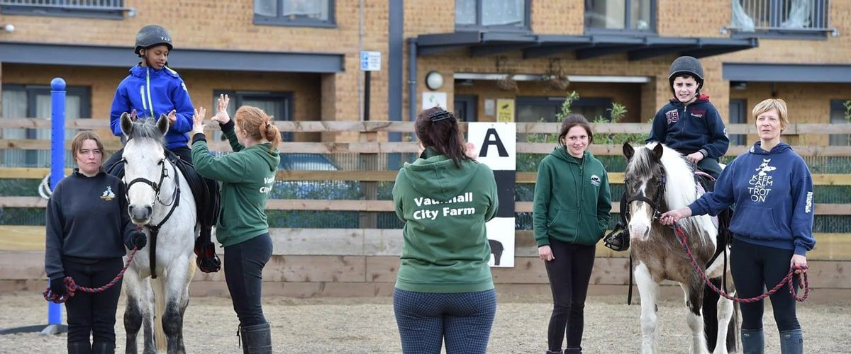 Vauxhall City Farm horse riding lessons - wide angle