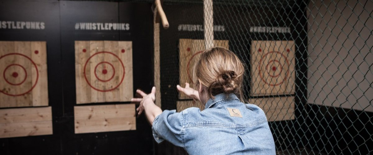 Whistle Punk axe throwing Vauxhall woman throwing axe