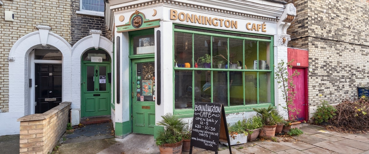 Exterior of Bonnington Cafe in Vauxhall