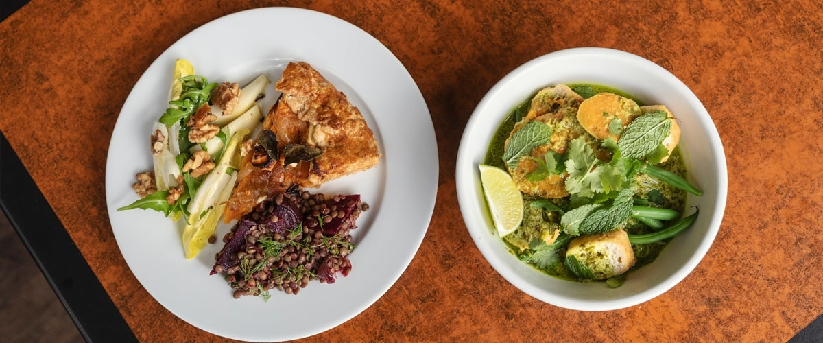 Dishes with food at Bonnington Cafe in Vauxhall