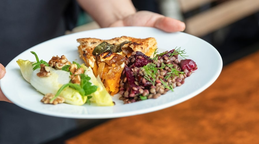 Dish with food at Bonnington Cafe in Vauxhall