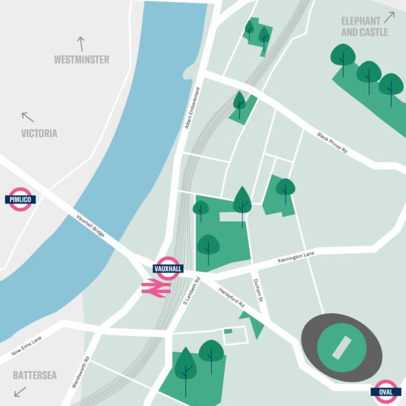 Map of Vauxhall, London