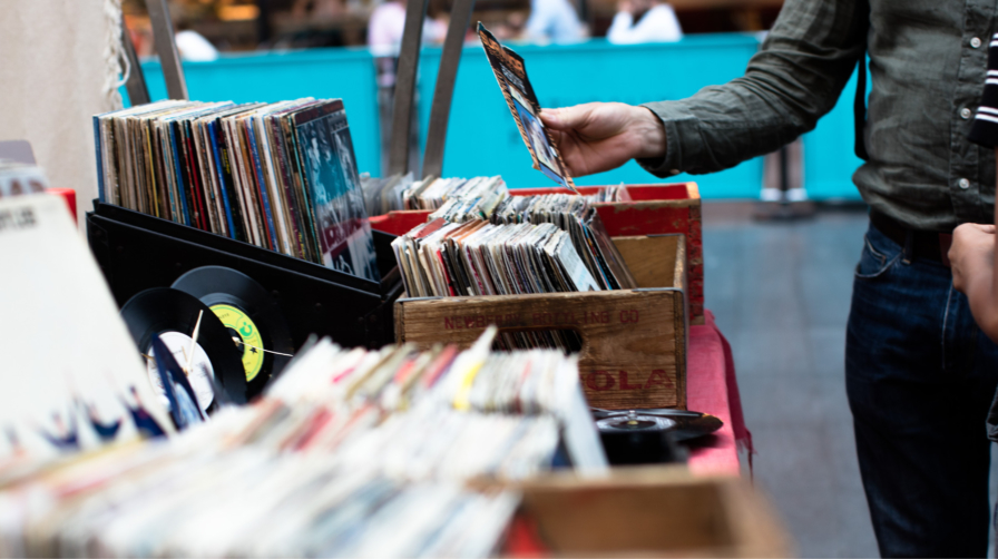 Close up of records for sale at Vauxhall Sunday Market