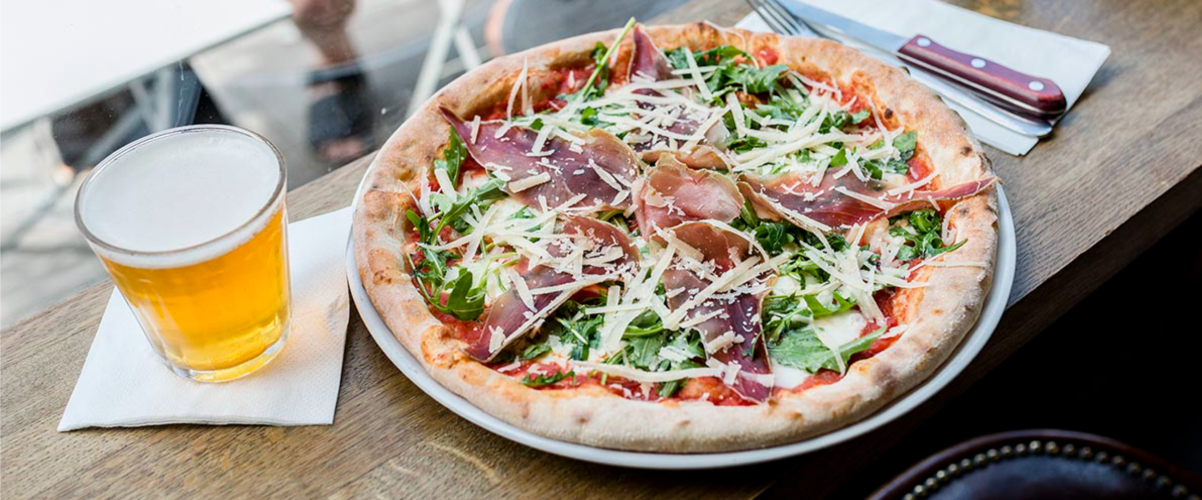 Pizza and beer at Stockwell Continental