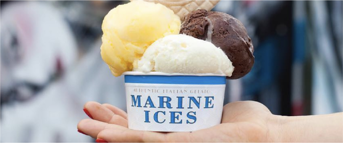 Close up of three scoops of Marine Ices ice-cream