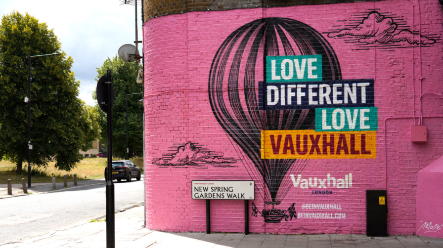 Mural in Vauxhall saying 'Love Different Love Vauxhall'